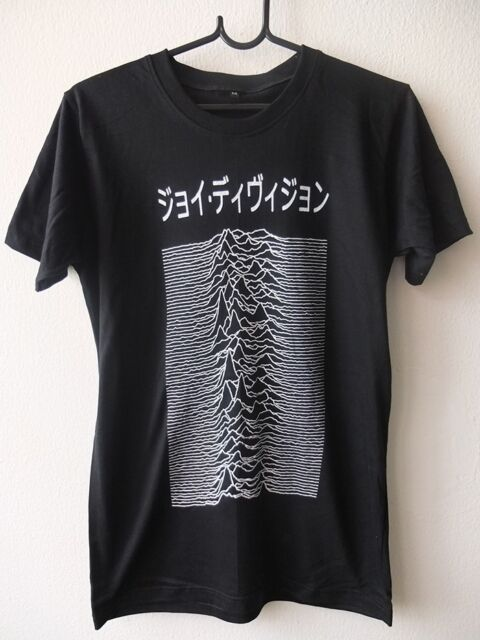 Japanese Text Unknown Pleasures Goth Punk Rock Graphic Tee T-shirt L