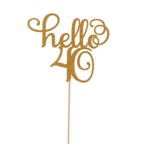 gold glitter hello 21//30//40//50//60 birthday cake topper party decor supplies US