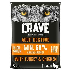 3kg Crave Grain Free Natural Adult Dry Dog Food Turkey & Chicken (3 x 1kg)