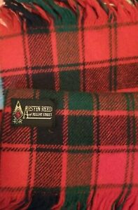 Vintage Austin Reed Of Regent Street Red Tartan Wool Scarf A Few Tiny Holes Ebay