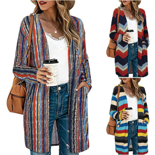 Womens Long Sleeve Knitted Cardigan Coat Casual Stripe Print Open Front Tops 12