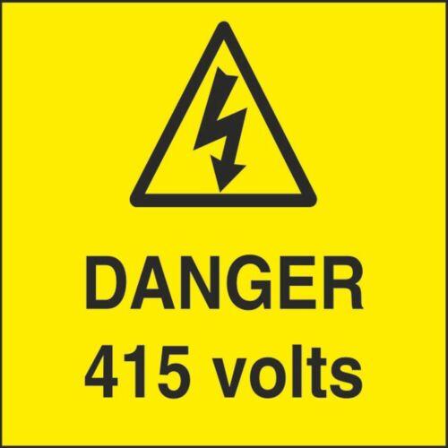Danger 415 V 100MMX100MM Santé Sécurité Avertissement Autocollant Latex Imprimé Warn 096D
