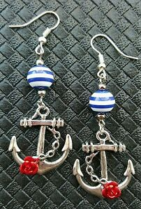 ANCHOR-amp-ROSE-EARRINGS-ROCKABILLY-PIN-UP-DERBY-KITSCH-RETRO-MOD-KRAKEN-SAILOR