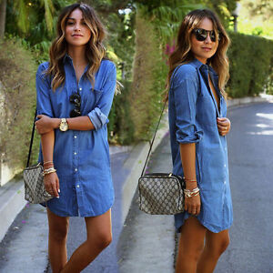 Women-039-s-Blue-Jeans-Denim-Pocket-Long-Sleeve-T-shirt-Loose-Shirt-Mini-Dress