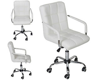 Beau Image Is Loading White Modern Office Leather Chair  Hydraulic Swivel Executive