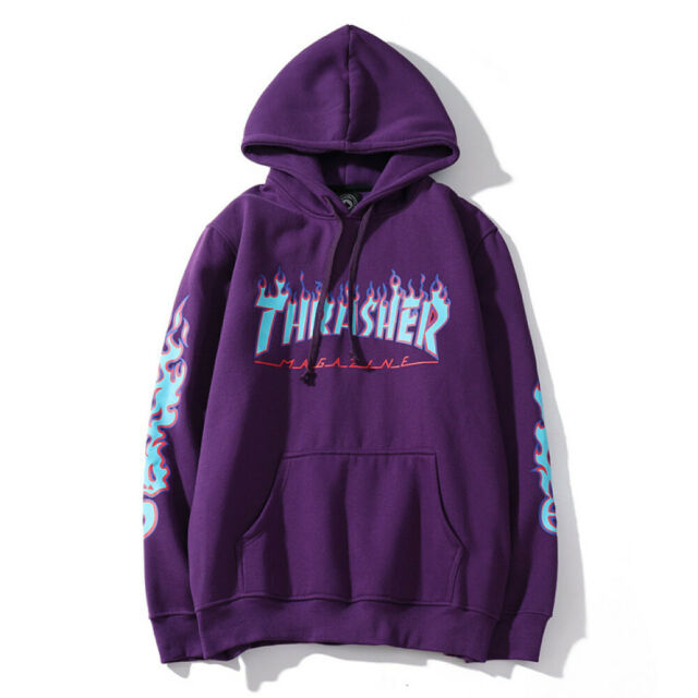 Men Women Pullover Hoodie Thrasher Flame Sweatshirt Hip Hop Skateboard Top Hoody by Ebay Seller
