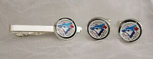 Toronto-Blue-Jays-Cufflinks-amp-Tie-Clip-Set-made-from-Baseball-Trading-Cards