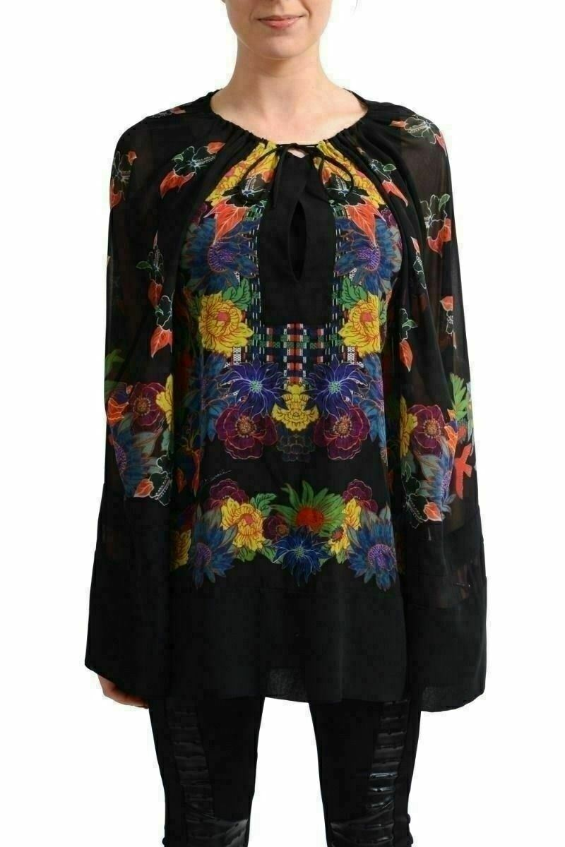 Just Cavalli Woherren Multi-Farbe Loose Style See Through Blouse Shirt US S IT 40