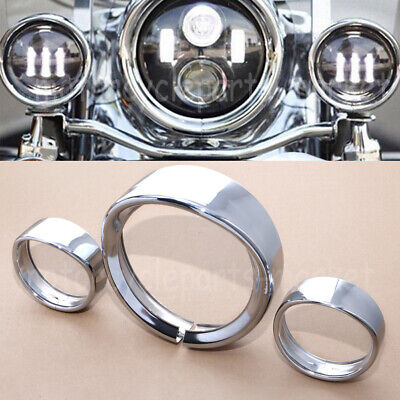 "7/"" HEADLIGHT 4.5/"" PASSING LIGHTS DECORATE TRIM RING VISOR COVER FOR HARLEY LAMP"