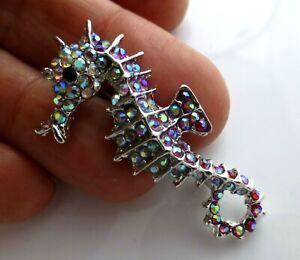 Seahorse-brooch-rhinestone-crystal-vintage-style-animal-diamante-in-gift-box