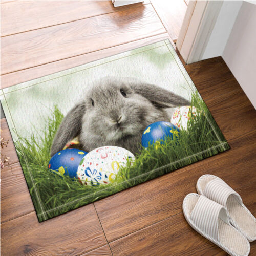 Happy Easter egg bunny Waterproof Polyester Fabric Shower Curtain Bathroom Mat