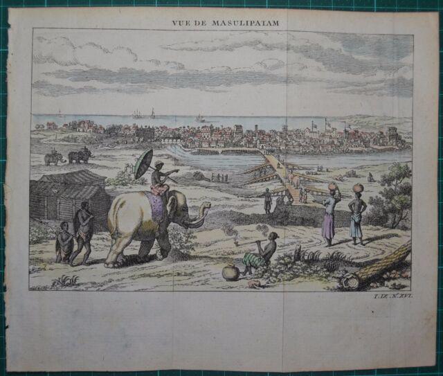 Masulipatam Indien Gesamtansicht 1750 Raspe Kupferstich, koloriert