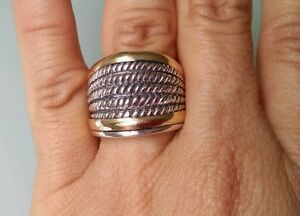 Sterling-Silver-with-9K-Gold-Ring-Size-Q-SAME-DAY-SHIPPING