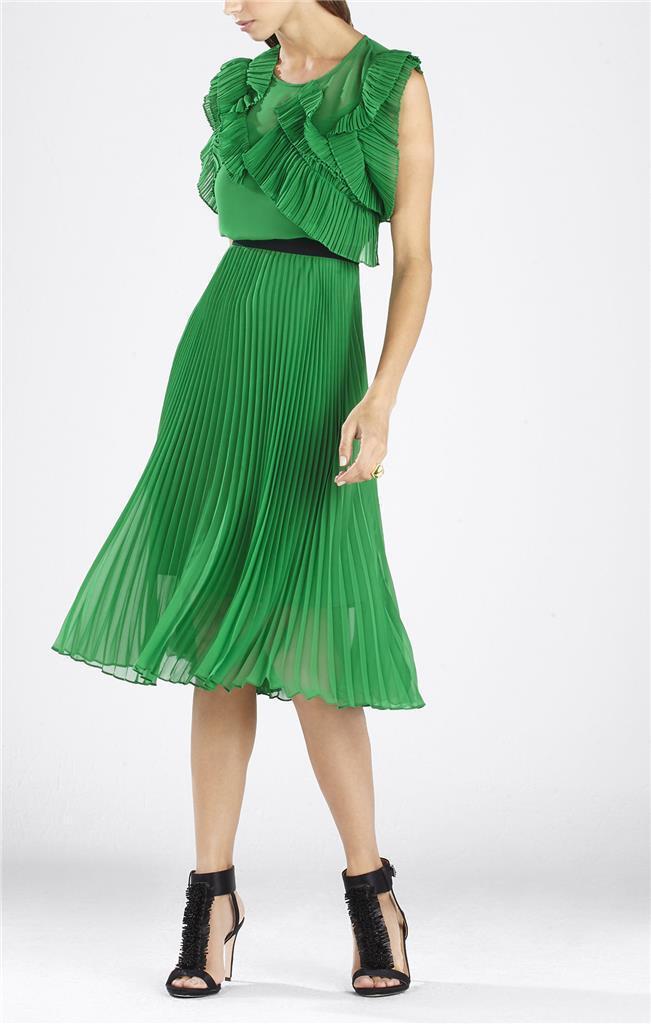 399 BCBG MaxAzria Lanette Sleeveless Pleated Ruffle Dress  SZ  2