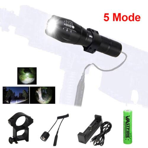 A100 6000Lm XM-T6 LED Tactical Hunting Flashlight 5 Mode Torch Mount Light Gun
