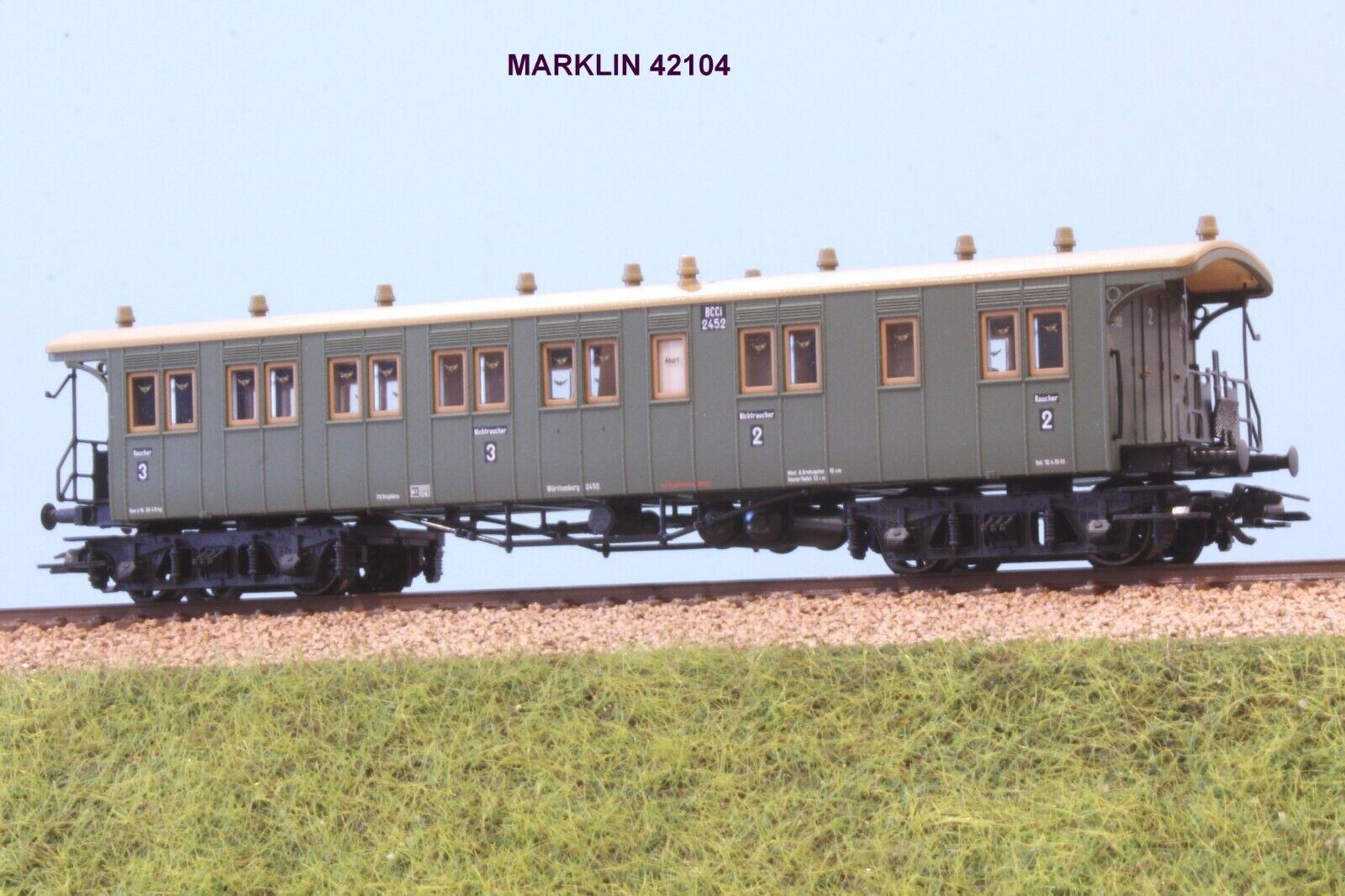 MARKLIN  42104 autoROZZA A autoRELLI DI 3 CL FERROVI A DEL WURTTEMBERG EP.I