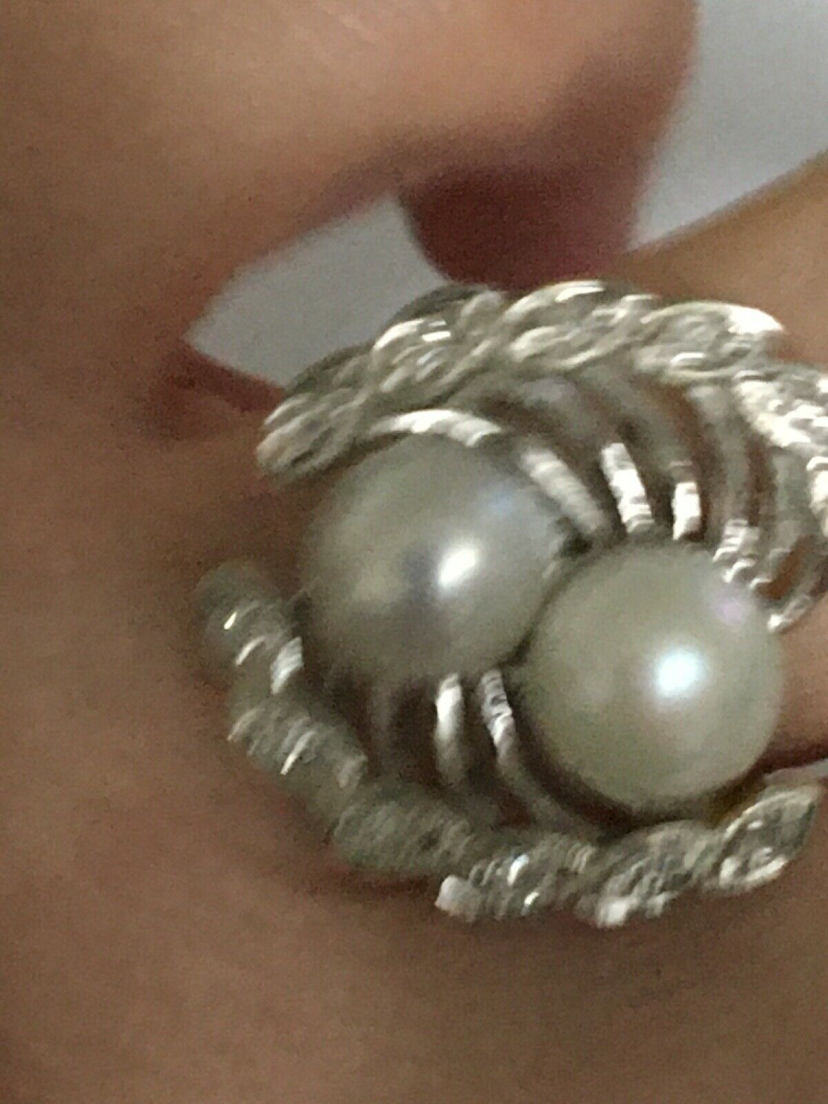 Vintage pearl and diamond Ring, Pearl and Diamond… - image 2