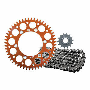 Primary-Drive-Alloy-Kit-amp-O-Ring-Chain-Orange-Rear-Sprocket