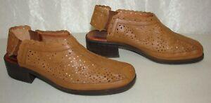 I-Love-Comfort-Brown-Leather-Slip-On-Low-Heel-Shoes-Size-9-5-Slingbacks