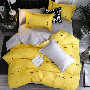 Yellow-Smile-Printing-Bedding-Set-Duvet-Quilt-Cover-Sheet-Pillow-Case-Four-Piece