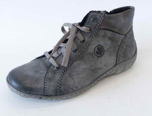 Rieker Sneaker Boot M37C1 45 asphalt altsilber grau Einlage Reißverschluß