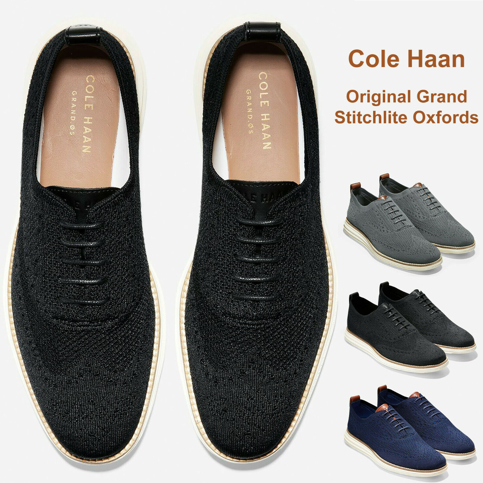 Men Cole Haan Original Grand Stitchlite Wingtip Oxford Knit Upper shoes NEW