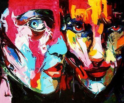 Tableau Contemporain - Le Coup De Foudre 50x60 cm Peinture à l'huile | eBay