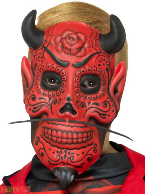 Boys Day of the Dead Devil Mask Childs Halloween Mexican Fancy Dress Accessory