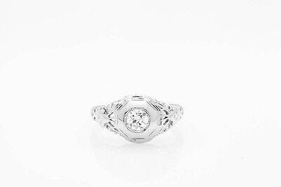Antique 1920s .50ct VS G Diamond Orange Blossom 18k White Gold Filigree Ring