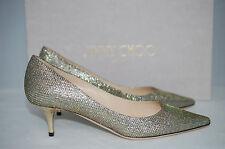 JIMMY CHOO Aza Golden Light Bronze Glitter Pointy Pump Heel Shoes 5.5 US/35.5 EU