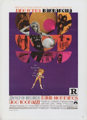 "1977 Vintage /""BARBARELLA/"" JANE FONDA BIKINI MINI POSTER Art Plate Lithograph"