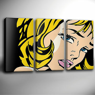 Triple Panel GICLEE CANVAS Wall Art Picture *Choose your size ROY LICHTENSTEIN