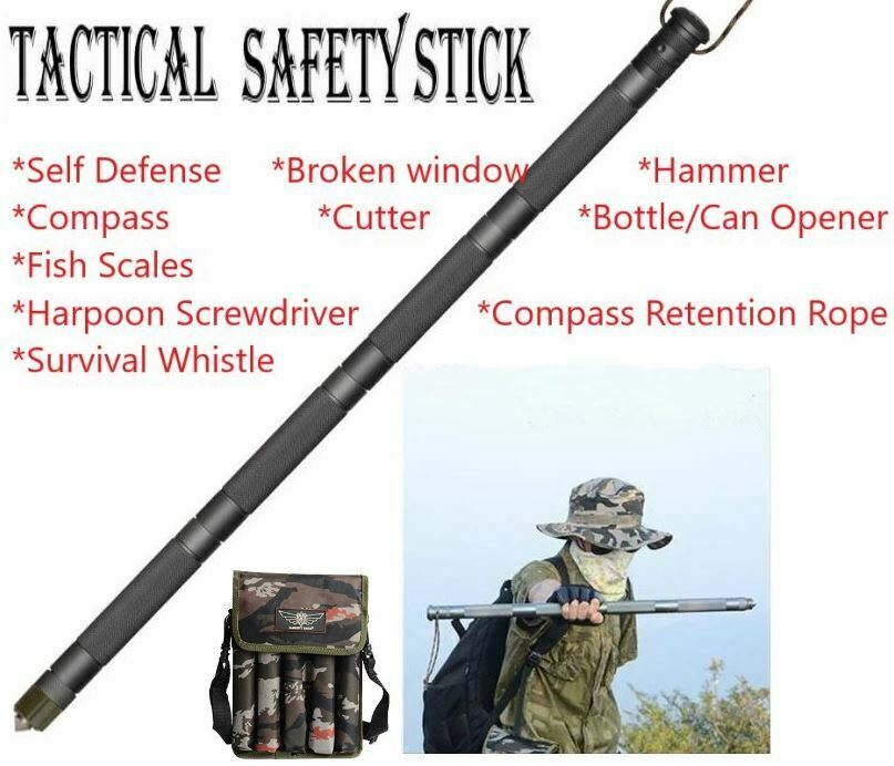 Safety Survival Alpenstock Outdoor Camping Tactical Walking Stick Folding Army