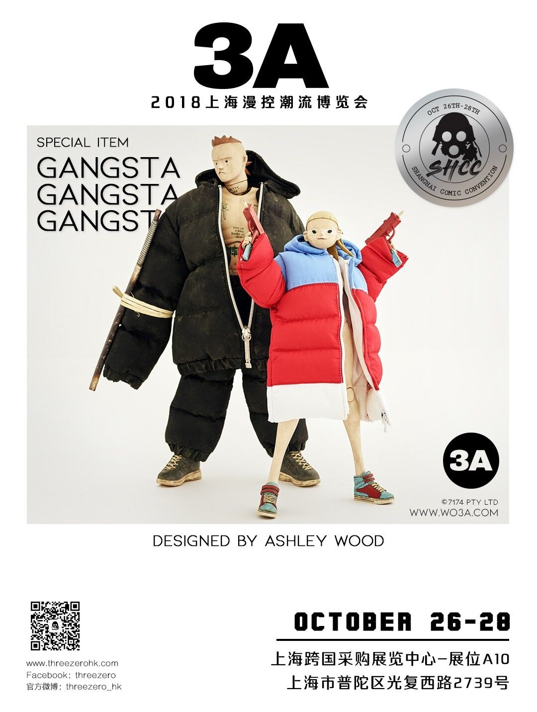 THREEA TOYS SHCC 2018 Ashley Wood Die Antwoord GANGSTA NINJI & LANDI 1/6 Figure