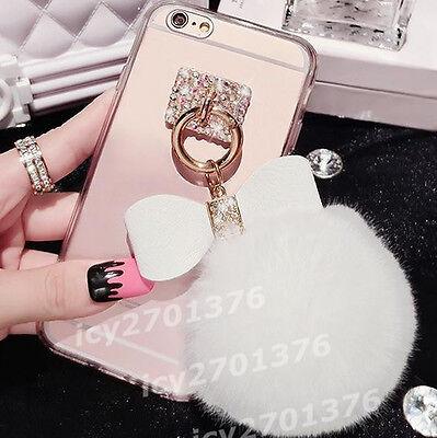 NEW Bling Crystal Diamonds bow ring Bulb tassel soft TPU Back Case Cover Skin #j