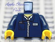 NEW Lego Girl/Boy Minifig DARK BLUE TORSO White Shirt Zipper Jacket Coat Pattern