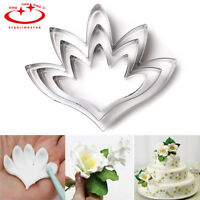 3pcs Stainless Steel Flower Petal Biscuit Fondant Cake Cookie Cutter Baking Mold