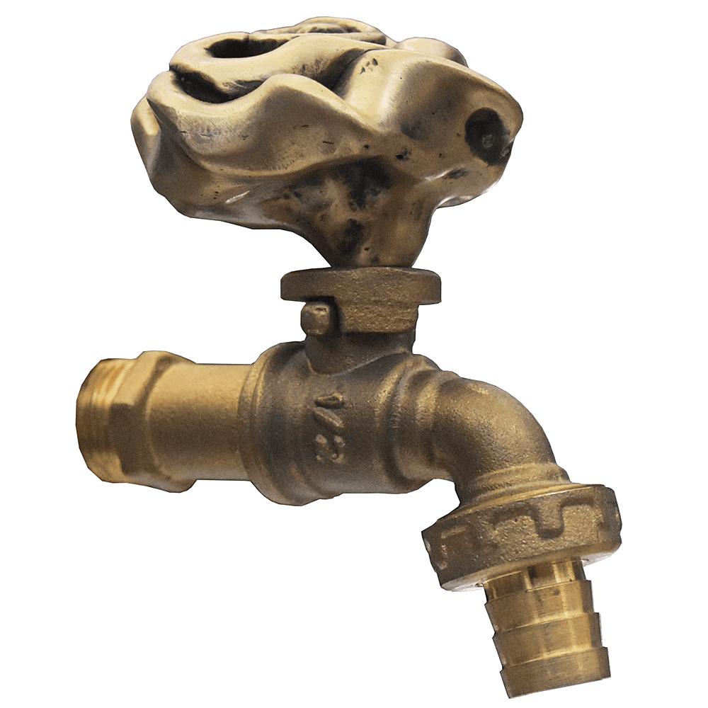 Brass Garden Tap Faucet BIG ROSE Spigot Vintage Water Home Decor Living Outdoor