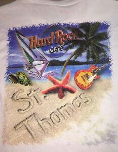 Hard-Rock-Cafe-ST-THOMAS-1990s-Beach-Scene-White-HEAVY-Tee-T-SHIRT-SMALL-17-034-x19-034