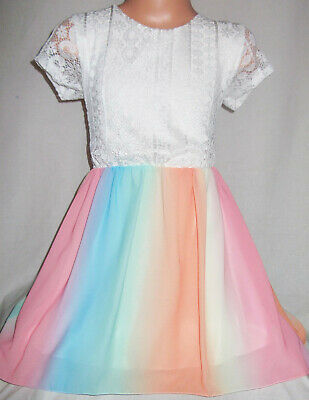 GIRLS WHITE LACE MULTI COLOUR RAINBOW CHIFFON CONTRAST PRINCESS PARTY DRESS