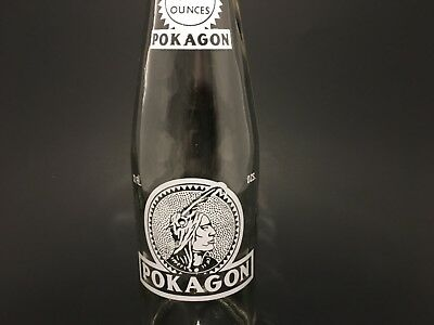 Vintage soda pop bottle POKAGON red and white indian picture 1967 Angola Indiana