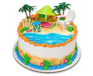 Hawaiian Luau Beach Chair And Umbrella Cake Kit Topper