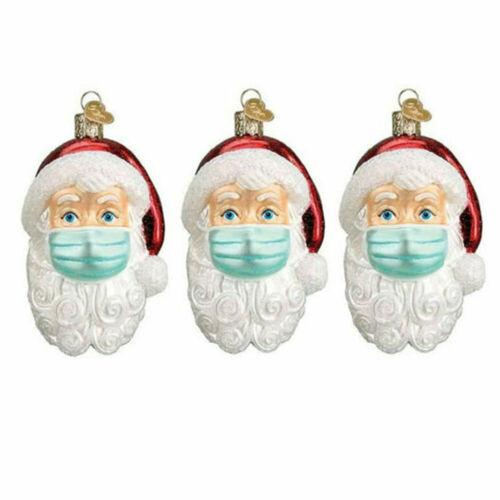 3D Christmas Tree Ornaments 2020 Santa Wearing Mask Hanging Decor Creative Gift
