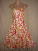 VTG USA S White Pink Tropical Floral Rockabilly Party Swing Tea Dress Pin Up 50s