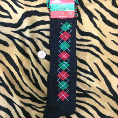 Funky Red Green BLACK GLITTER ARGYLE KNEE SOCKS Lolita Winter Holiday Christmas