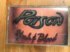 POISON-Flesh-amp-Blood-Cassette-1990-ULTRA-RARE-1st-pressing-034-BLOOD-034-Tattoo-cover