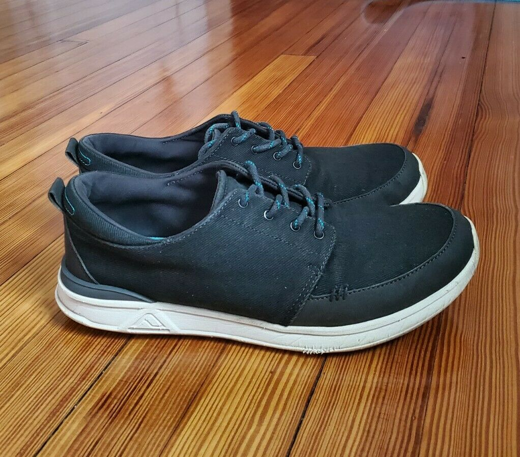 REEF Rover Low RF-003185 Boat Shoe Sneakers Shoes Mens 10 Black Blue Canvas Surf