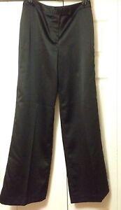 NEW Allen by ABS Black Satin Wide Leg Pants Size 4 Lined Allen Swartz