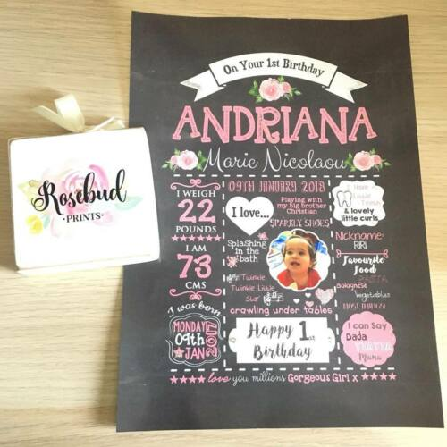 PERSONALISED First 1st Birthday chalkboard keepsake PHOTO PRINT A4 A3 Present