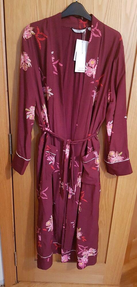 Paris Atelier & Other Stories Violet Floral Dressing Robe Taille 38-uk 10/neuf Avec étiquettes